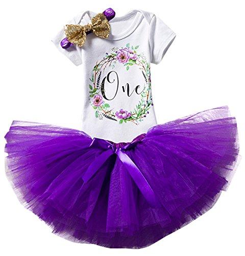 TTYAOVO Mädchen Rock Neugeborenen 3er Babys 1 Geburtstag Set/Outfits mit Romper + Tutu Kleid + Stirnband Größe 1 Jahre lila (Tutu Stirnband Set Und)