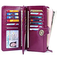 Womens Leather Coin Cell Phone Purse Handbag Wallets, Card Cases & Money Organizers,Large Capacity Chequebook Covers (Purple)