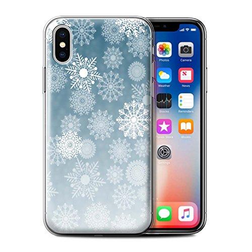 Stuff4 Gel TPU Hülle / Case für Apple iPhone X/10 / Pack 5pcs / Schneeflocke Nebel Kollektion Blau