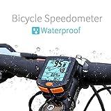 QHJ Fahrradcomputer kabellos | Fahrradtacho/Radcomputer/Tachometer Temperaturanzeige in °C |inkl. Befestigungsmaterial | Hintergrundbeleuchtung | IP65 (Schwarz)