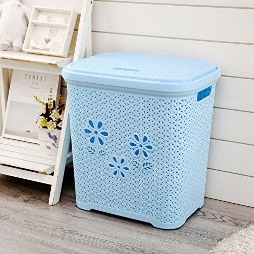 Rechteck Plastik Wäschekorb,Kleidung Lagerung Korb Spielzeug Organisatoren Bin Faux Rattan Wäschekörbe Mit Deckel-blau L44 X W33 X H57cm -