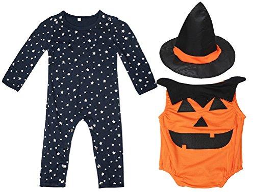 Face Girl 2 Kostüm - FANCYINN Baby Jungen Halloween Kürbis Kleidungssets Cosplay Outfits 4 Stück Kostüme mit Westen & Zaubererhut 80