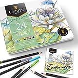 Castle Arts tema 24 färgade pennuppsättningar Botanical