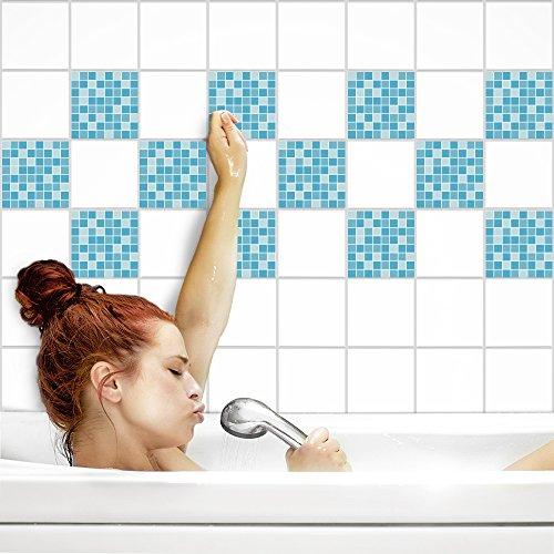 Fliesenaufkleber für Küche und Bad | Fliesenfolie für 20x20cm Fliesen | Mosaik Eis matt | 24 Stück | Klebefliesen günstig in 1A Qualität von PrintYourHome