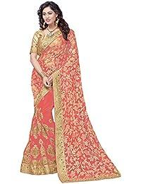 Panash Trends Women's Brasso & Net Heavy Work Half & Half Saree(UJJ.K667A_92A_P)