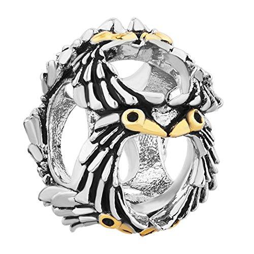 Uniqueen gioielli gufo saggezza charm beads fit charms e base metal, cod. dpc_lf008_parent