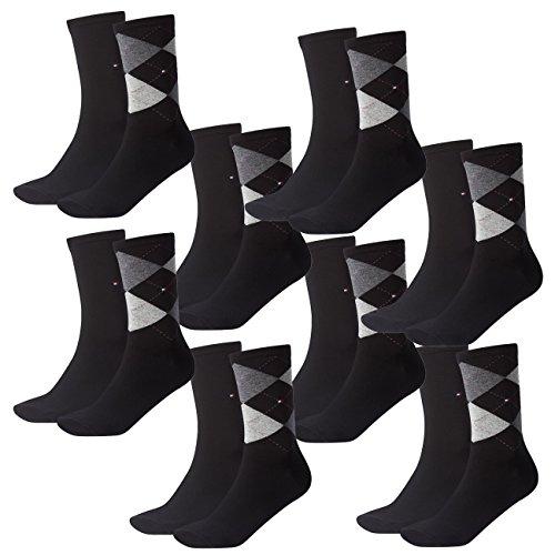 Tommy Hilfiger Damen Socken Check Casual Socken 8er Pack, Größe:35-38, Farbe:Black (200)