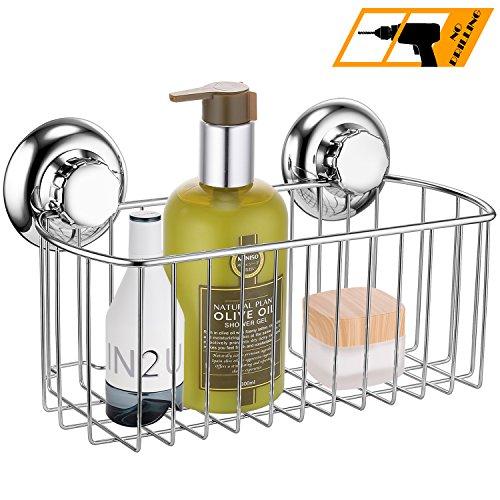 MaxHold Saugschraube Duschkorb tief einstöckig,Befestigen ohne bohren – Edelstahl rostet nicht – Küchen & Badezimmer Aufbewahrung