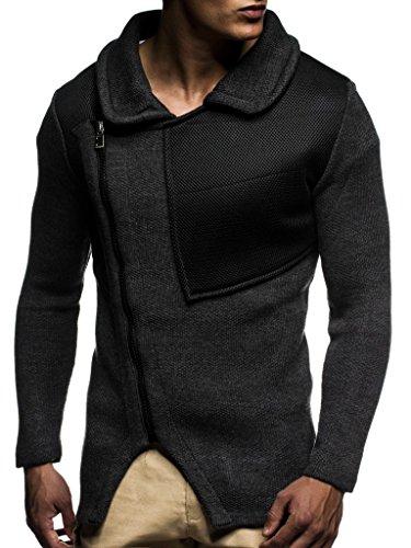 LEIF NELSON Herren Strickjacke Pullover Hoodie Jacke Freizeitjacke Sweatjacke Winterjacke Pulli Zipper LN20703; Größe S, Anthrazit  