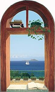 """Quick Trompe - Trompe l'oeil sticker lavable """"Fenêtre sur Capri avec des livres"""" S-F136 (60x98cm)"""