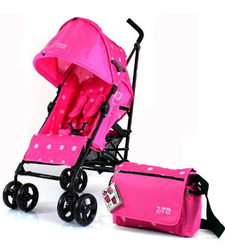 NEW ZETA VOOOM RASPBERRY (DOTS) + Changing Bag (Includes Changing Mat) BUGGY STROLLER PUSHCHAIR WITH LARGE SUN CANOPY HOOD with Rain Cover