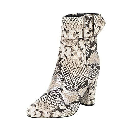 Damen Winter Stiefel 2019 Mode Frauen Runde hochhackige Snake Print Schuh Schnalle Large Size Booties Warm Stylisch Ausgehen Wild Jeden Tag Schuhe(Beige,41 (Schnalle Print Snake)