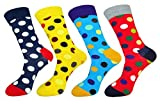FULIER Mens 4 Pack Cotton Rich Colorful Dots Design Dress Calf Crew Sock UK 6-11