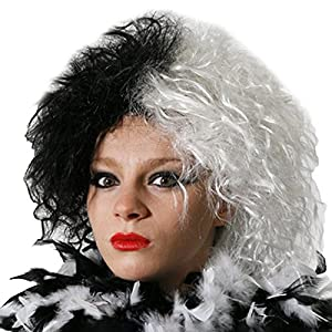 EVIL DOG LADY WIG. HALF/WHITE GREAT FOR CRUELLA FANCY DRESS BY ILOVEFANCYDRESS (peluca)
