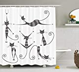 ruichangshichengjie Cat Shower Curtain, Furry Skinny Striped Cats in Several Funny Body Postures Whiskers Feline Paws Art Image, Bathroom Decor Set with Hooks, 60 x 72 inches, Dimgray