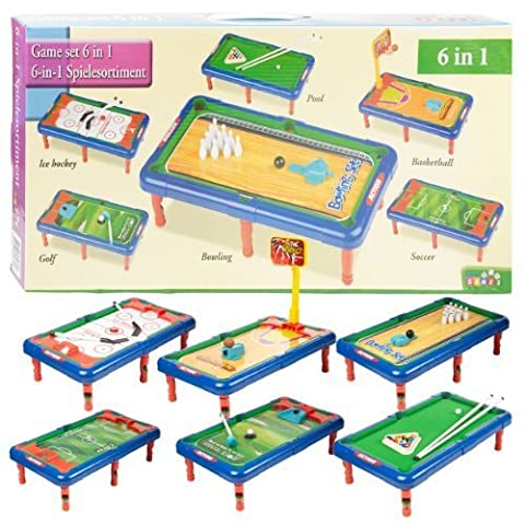 6 In 1 Game Pool Hockey Basketball Golf Tabletop Indoor