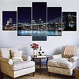 Mddrr New York City Nacht Skyline Wandkunst Bild Schöne Moderne Brooklyn Bridge Malerei Leinwand 5 Stück Set Mit Rahmen