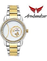 Armbandsur silver & golden strap white dial watch- ABS0043GWG