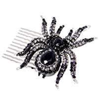 EVER FAITHŽ Austrian Crystal Spider Hair Comb Black Silver-Tone N02251-1