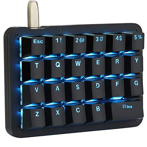 Koolertron Einhand Mini Tastatur, Mechanische Gaming Tastatur Rote switches mit 23 Voll Programmierbaren Tasten, Gaming Tastatur blau Beleuchtung für Windows Mac Schreibkraft PC Gamer
