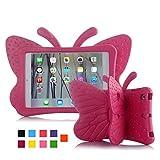 iPad caso, kids-use 3d Cartoon mariposas no tóxico luz EVA iPad mini Case con Stand Función atril prueba de niños a prueba de golpes Funda para iPad 2/iPad 3/iPad 4caso para niña rosa (b)