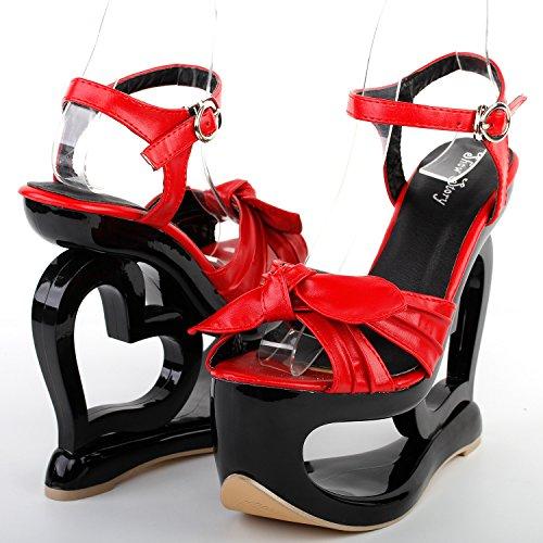 Visualizza storia Sexy nero incrociato rosso cuore tacco sandali zeppa partito, LF40208 Rosso