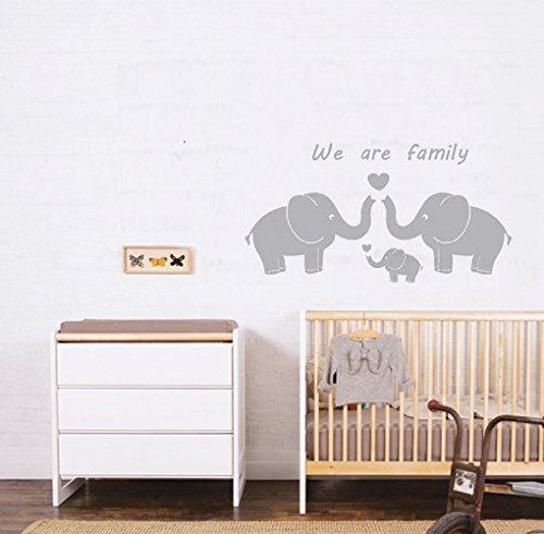 Tres lindos elefantes padres y niño familia Wall Decal somos familia palabras...
