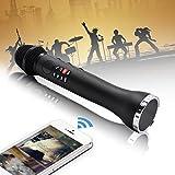 Lefon Wireless Handheld Mikrofon Karaoke mit Bluetooth Lautsprecher Live Sound Bühne LED-Display AUX Aufnahmegeräte für Party Konferenz Home KTV DJ Outdoor-Aktivitäten (Schwarz)