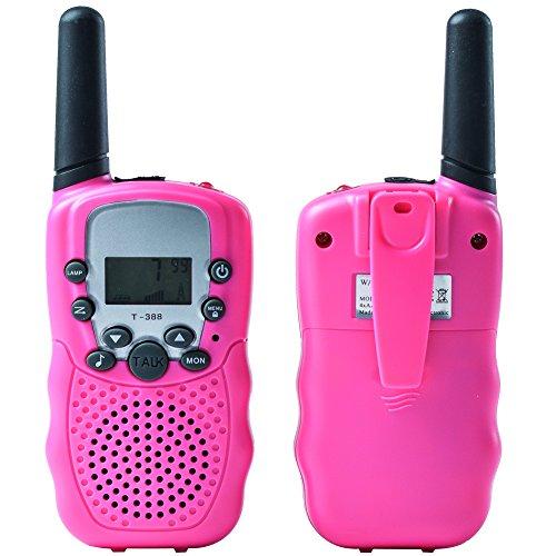 Uping Niños Walkie-talkie | UHF446MHz 8 Canales | Pantalla LCD y Linterna Incorporado | Alcance Hasta 3 km en campo Abierto | Juguetes Electrónicos para Niños (Rosa, 1 par)