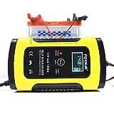 FOXSUR 12V 5A Impuls-Reparatur-Ladegerät mit LCD-Anzeige, Motorrad-u. Autobatterie-Ladegerät, 12V AGM Gel Nass Blei-Säure-Ladegerät