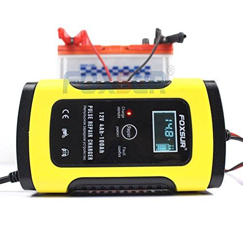 FOXSUR Caricabatterie 12V 5A per riparazione a impulsi con display LCD, caricabatterie per auto e moto, caricabatteria per batterie al piombo AGM GEL 12V