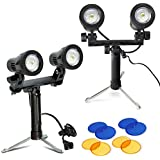 Julius Studio 2 Sets Portable Continuous Double Head LED Light, Table Top Mini Lighting Kit With Blue And Yellow Color Gel Filters, Photography Video Studio Set, JSAG374