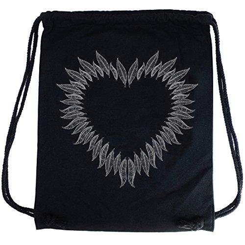 Imagen de premyo bolsa de cuerdas negra 100% algodón con impresión y motivo hermoso.  con cuerdas con impresión corazón de plumas de alta calidad. gymsac con cordón. saco de gimnasio ideal para viajar