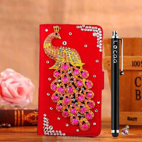 "Locaa(TM) For Apple IPhone6S IPhone 6S 4.7"" 3D Bling Paon Case + Stylet tactile + Bouchons poussière Deluxe Crystal Pearl diamant strass étuis Belle Housse rétro card holder protective cuir Cases - [S étui Rouge - paon rose"