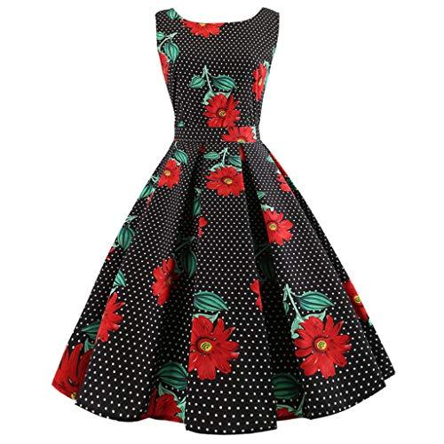 KUKICAT Damen Cocktailkleider 1950er Vintage Retro V-Ausschnitt A-Linie Abendkleid Blumenrock Ärmellos Party Kleider