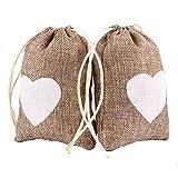 Advantez 10pcs Jute Naturel Jute Sacs Faveur Sacs Bonbons Cadeau Sacs Rustique Bridal Shower de Mariage (Coeur blanc)