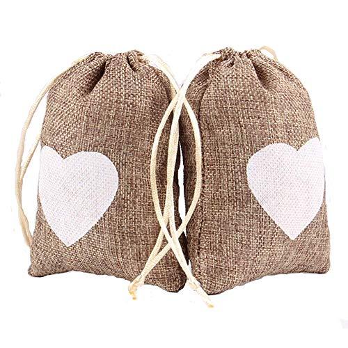 28572e015 Corazón grabado yute saco bolsa lazo boda regalo bolsas dulces bolsas  paquete de 10 piezas