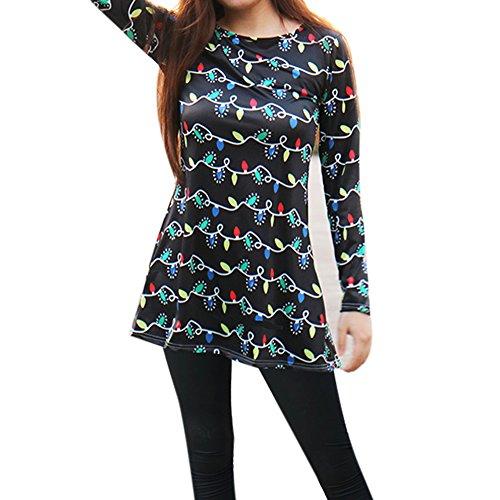 La Cabina Femme Sexy Mini Robe T-Shirt + Manche Longue Confortable pour été Printemps Noir