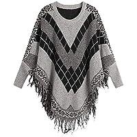 Geili Damen Langarm Pullover Karo Muster V-Ausschnitt Franse Strickshirt Loose Longsleeve Sweater Herbst Winter... preisvergleich bei billige-tabletten.eu