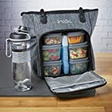 Fit & Fresh Jaxx FitPak Commuter Meal Prep Tote with Portion Control Containers