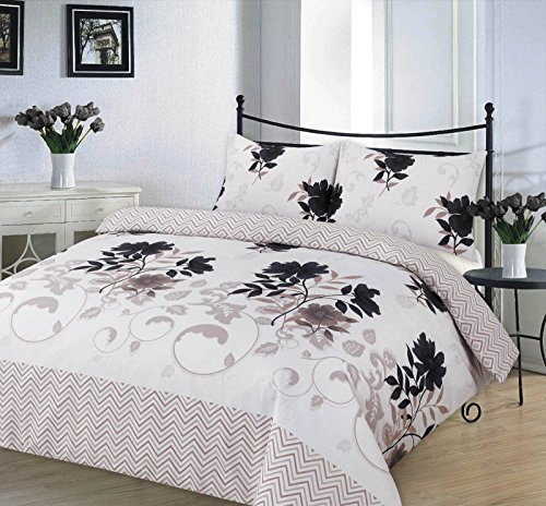 Complete Bed Set Duvet Cover Set Double With Matching Fitted Valance Sheet With Pillowcases Quilt Bedding Set Reversible Poly Cotton , Bethany Black