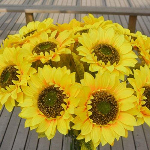 1pc home garden fence decorazione falso fiore vivid big artificiale girasole amesii