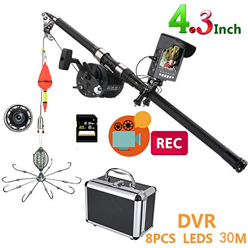 H&L Tragbare Fische Tiefe Finder,4.3 Inch DVR Recorder Monitor mit Explosion Angeln hooksUnterwasser-Fishing-Videokamera Kit mit 8GB TF-Karte,30M