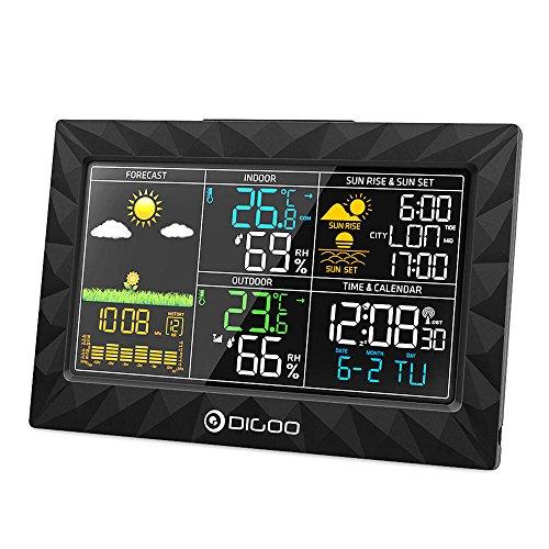 DIGOO DG-TH8988 Colorful Wetterstation mit großem Display geometrisches Design, ultra dünn, Alba bei Sonnenuntergang, Anzeige im Innen- und Außenbereich, Thermometer,...