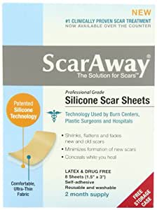 """Scaraway - Professional Grade Silicone Cicatrice Traitement Feuilles 1,5 """" X 3"""" 8-Count"""