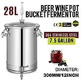 BuoQua 28L Edelstahl Weinfass Edelstahl Fermenter mit Wasserhahn Wein zum Lagern von Wein und Bier Metall Edelstahl Verschlossenes Fass