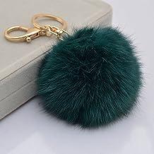 Kanggest 1 Piezas Pompon Llaveros de Coche Lindo Pequeños Cadena de Clave Key Holder Para Decoración del Coche/Puerta/Teléfono/accesorio de bolso(Cian)