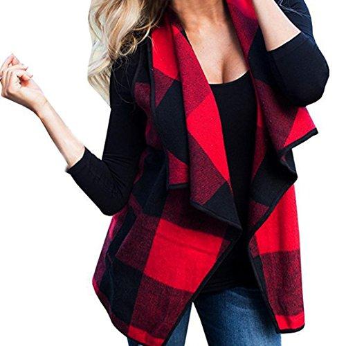 Gestreifte Weste Damen, DoraMe Frauen Lässig Wollmantel Warm ärmellose Strickjacke ärmellose Revers Jacke (Rot, 2XL)