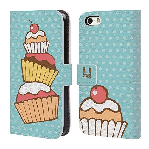 Head Case Designs Regenbogen Cupcake Freude Brieftasche Handyhülle aus Leder für Apple iPhone 6 / 6s Stapel
