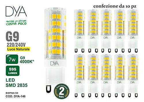 Lot de 10ampoules lED culot g9–7W–595lm–220/240V–Mesures Ø 16x 60mm–Lumière naturelle 4000K ° Rayon d'éclairage 360°–Non dimmable